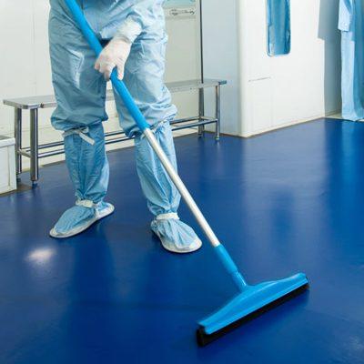 DTB piso polimerico de uso rudo área blanca que retiene contaminación y partículas en zapatos