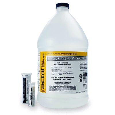 DTB Actril Cold Sterilant desinfectante y esterilizante a usar en superficies comunes en salas limpias farmacéuticas.
